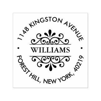 Simple Black & White Ornate Custom Return Address Self-inking Stamp