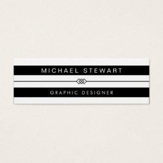 Simple Black White Stripes - Modern and Unique Mini Business Card