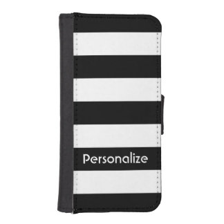 Simple Black & White Stripes | Personalize iPhone SE/5/5s Wallet Case