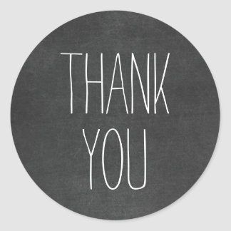 Simple Black White Thank You Chalkboard Stickers