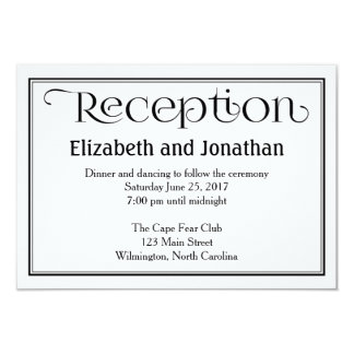 Simple Black & White Wedding Reception Card