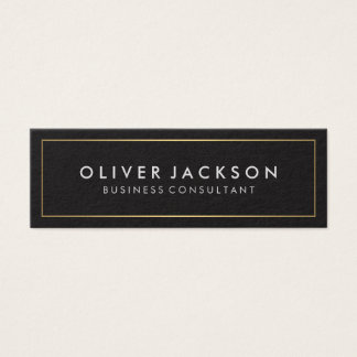 Simple Black with Gold Border Mini Business Card