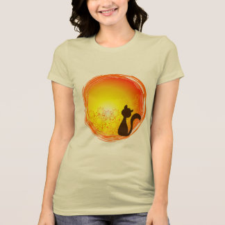 Simple blouse of lady with cat design watching th T-Shirt