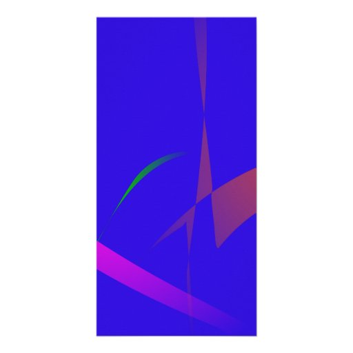 Simple Blue Abstract with Slashing Colors Custom Photo Card