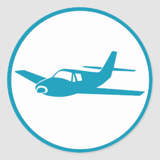 Simple blue airplane seal stickers