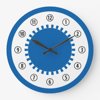 Simple Blue and White Circles and Gear Large Clock