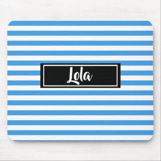 Simple Blue and White Stripes Striped Name Mouse Pad