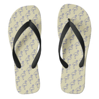 Simple Blue and Yellow Bird Pattern Thongs