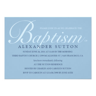 Simple Blue Baptism Christening Invite