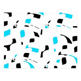 Simple blue, black and white design postcard