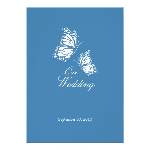 Simple Blue Butterflies Wedding Announcement 2