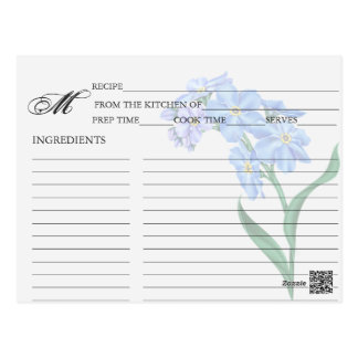 Simple Blue Forget-Me-Not Floral Recipe Cards Postcard