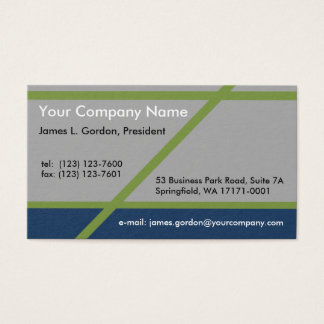 Simple Blue Gray and Green Business Card