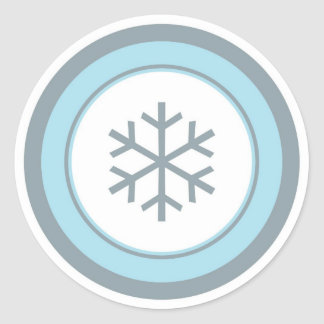 Simple blue gray circle snowflake stickers
