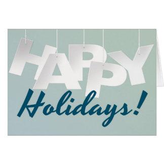 Simple Blue Happy Holidays Card