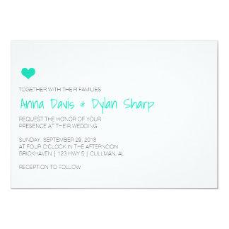 Simple Blue Heart Wedding Invitation