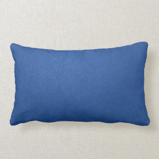 Simple Blue Leather Texture Print Lumbar Pillow