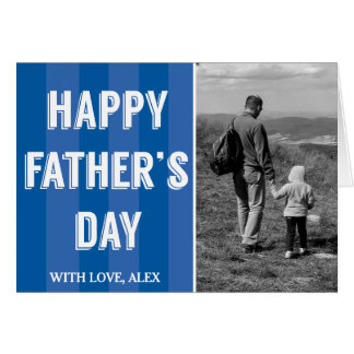 Simple Blue Stripes Black White Photo Father's Day Card