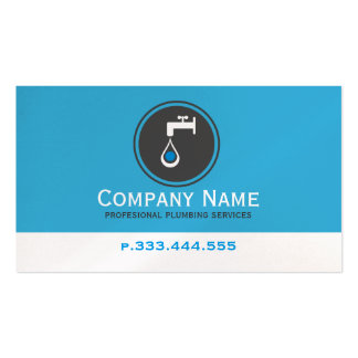 Simple Blue White & Gray Plumbing Services Pack Of Standard Business Cards