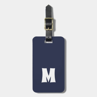 Simple Blue White Lines Bold Monogram Luggage Tag