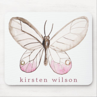Simple Blush Butterfly Personalized Mousepad