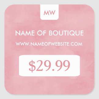 Simple Blush Pink Chic Boutique Monogram Price Tag Square Sticker