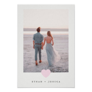 Simple Blush Pink Heart with Your Photo Poster