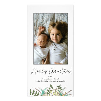 Simple Botanical Leaf Merry Christmas Card