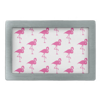 Simple Bright Pink Flamingo Pattern Rectangular Belt Buckle