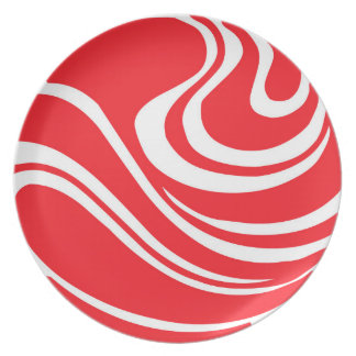 Simple Bright Red Abstract Melamine Plate