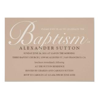 Simple Brown Baptism/Christening Invite
