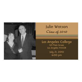 simple brown biege graduation photo card