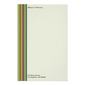 simple brown green stripes stationery paper