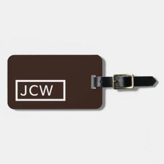 Simple Brown White Frame Bold Monogram Luggage Tag