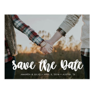 Simple Brushed Save The Date Wedding Post Card
