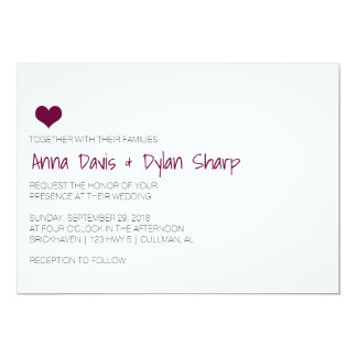 Simple Burgundy Heart Wedding Invitation