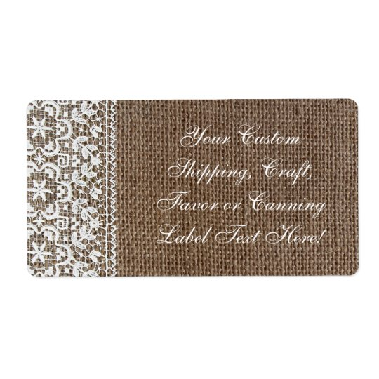 Simple Burlap and Lace Shipping Label