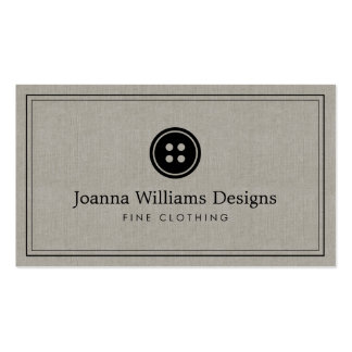 Simple Button Logo Seamstress, Tailor Linen Pack Of Standard Business Cards