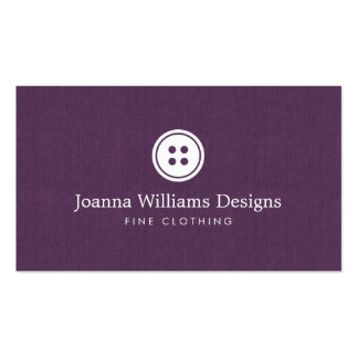 Simple Button Logo Seamstress, Tailor Purple Pack Of Standard Business Cards