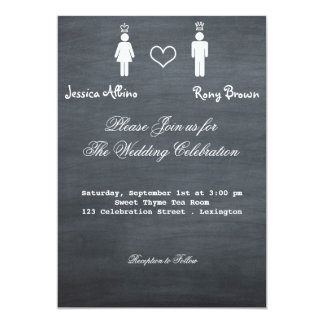 Simple Calkboard King and Queen Wedding Invitation