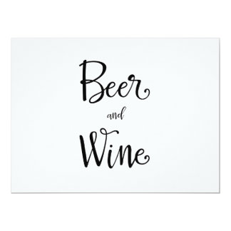 Simple Calligraphy | Beer and Wine Reception Sign Card