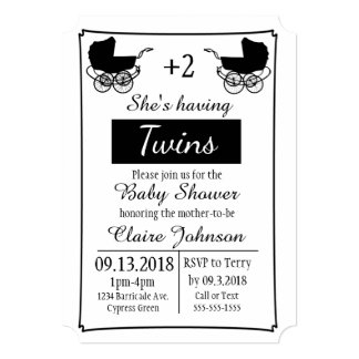 Simple Calligraphy Expecting Twins Baby Shower Card