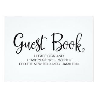 """Simple Calligraphy   """"Guest Book"""" Wedding sign Card"""
