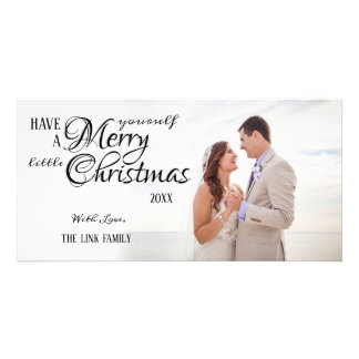 Simple Calligraphy Merry Christmas Photo Card