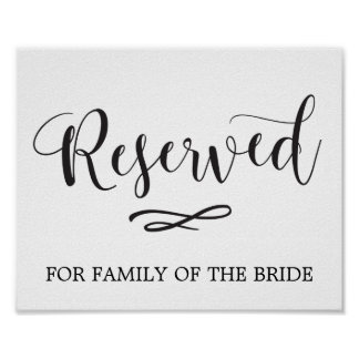 Simple Calligraphy Reserved Seating Wedding Sign
