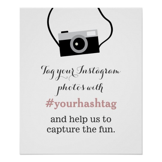 Simple Camera Instagram Photos Hashtag Sign