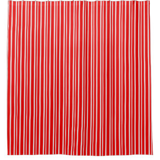 Simple Candy Cane Red & White Stripes Shower Curtain