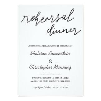 Simple Casual Script Rehearsal Dinner Wedding Card