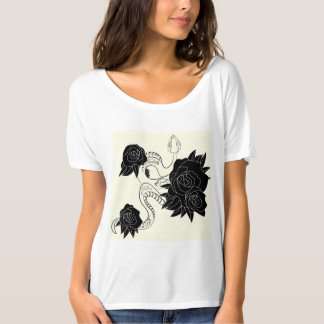 Simple casual T-shirt with snake and roses.