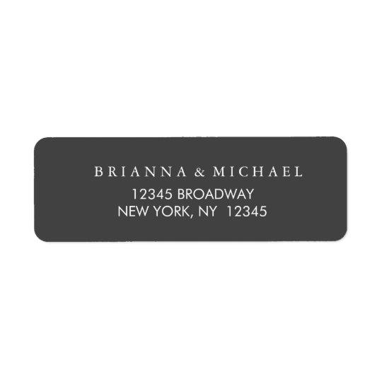 Simple Charcoal and White Return Address Return Address Label